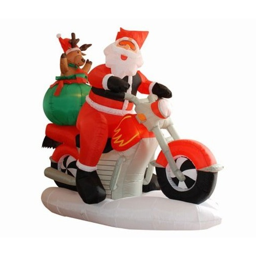 Inflatable santa on harley motorcycle for Motor for inflatable decoration